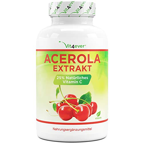 Acerola Kapseln - Natürliches Vitamin C - 240 Kapseln - Hochdosiert mit 1500 mg Acerola Extrakt je Tagesdosis - Laborgeprüft - Ohne unerwünschte Zusätze - Vegan