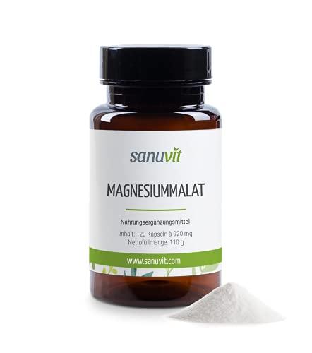Sanuvit® - Magnesiummalat   Hohe Bioverfügbarkeit   Deckt zu 100 % den Tagesbedarf an Magnesium   Magnesium Malate   Vegan   120 Kapseln