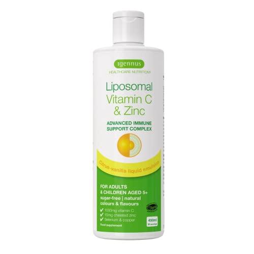 Liposomales Vitamin C (1000mg) plus Zink, Selen & Kupfer, hochdosierte Immunsystem Stärkung in flüssiger Form, für Erwachsene & Kinder, Zitrone-Vanille Geschmack, 30 Portionen