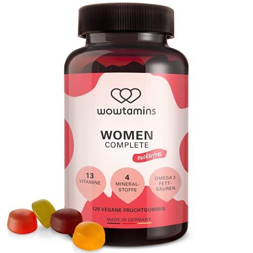 wowtamins WOMEN Complete zuckerfrei leckere Multivitamin-Fruchtgummis für Frauen - mit 13 Vitaminen, Omega 3 Fettsäuren, Eisen, Zink, Jod und Selen (1er Pack)