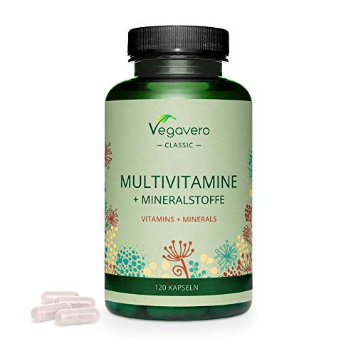 MULTIVITAMIN KAPSELN Vegavero ® | Immunabwehr & Energie* | HOCHDOSIERT | Wichtige A-Z Vitamine & Mineralien | B Vitamine, Eisen, Jod & Co | Ohne Zusatzstoffe | Laborgeprüft | Vegan | 120 Kapseln