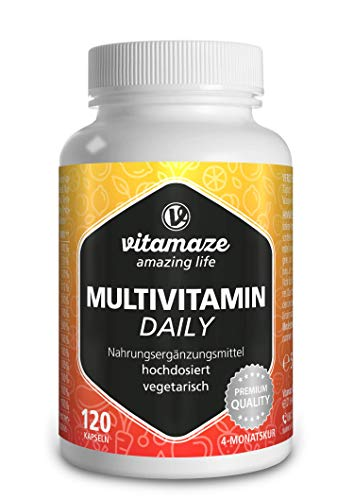 Multivitamin Kapseln hochdosiert, 13 Vitamine A, B, C, D, E, K, 120 vegetarische Kapseln für 4 Monate, ohne Jod, Natürliche Nahrungsergänzung ohne Zusatzstoffe, Made in Germany