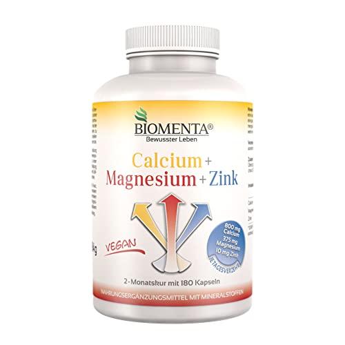 BIOMENTA Calcium + Magnesium + Zink – 180 vegane hochdosierte Multimineralien Kapseln mit 100% NRV - 2 Monatskur