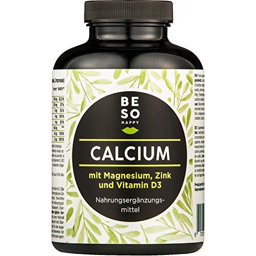 BeSoHappy® Kalzium mit Magnesium, Zink und Vitamin D Nahrungsergänzungsmittel |180 Hochdosierte Komposition Tabletten für 6 Monate | Vegan & Glutenfrei | Laborgeprüft und Getestet in Deutschland